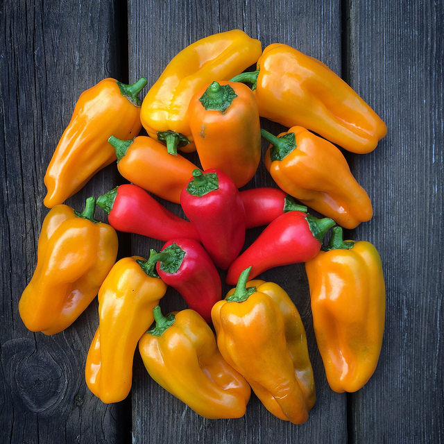 Yellow and Red bell peppers grouped